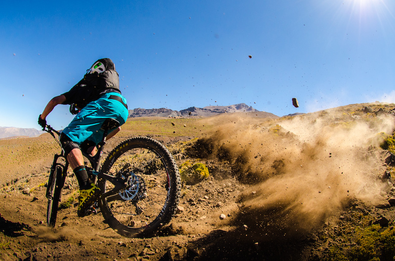 Nate Hills getting acquainted with the Chilean anti grip soil on stage two day one of the Andes Pacifico enduro race.