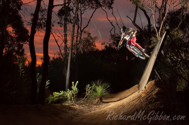 Jack Baker coming off the wallride during a sunset session at Oxford Falls on Sydney s Northern Beaches.