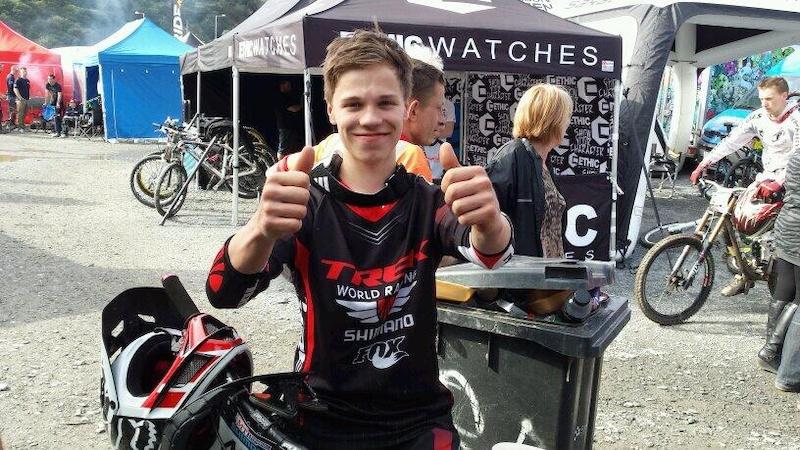 Junior winner of the Shimano British Cycling Series Round 1 race at Antur Stiniog.