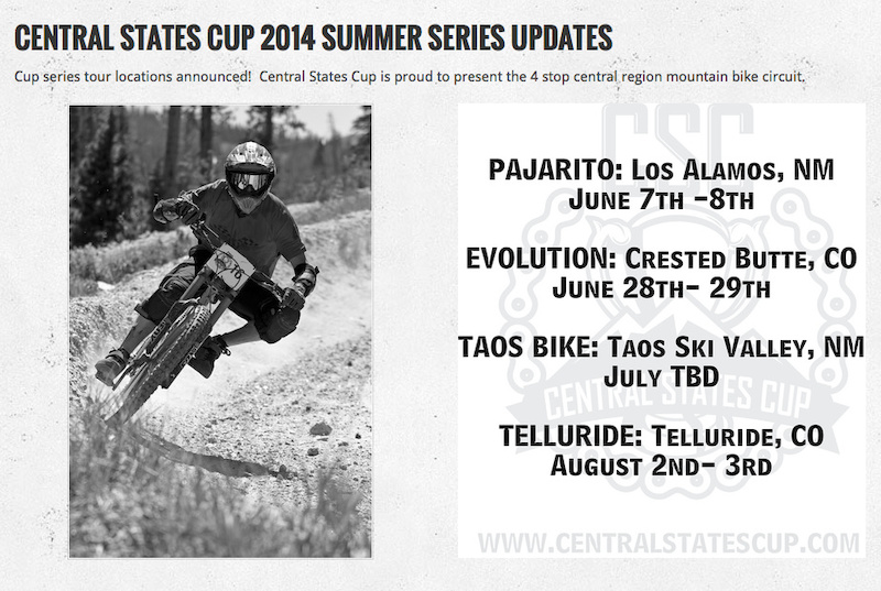 Schedule for the Central States Cup 2014 Follow them on Pinkbike http www.pinkbike.com u central-states-cup bookmark centralstatescup.com