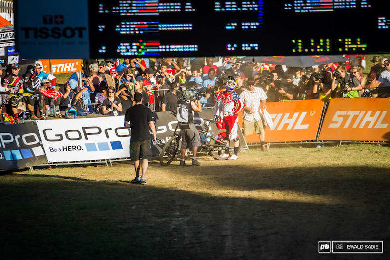 Aaron Gwin taking a second to take it all in.