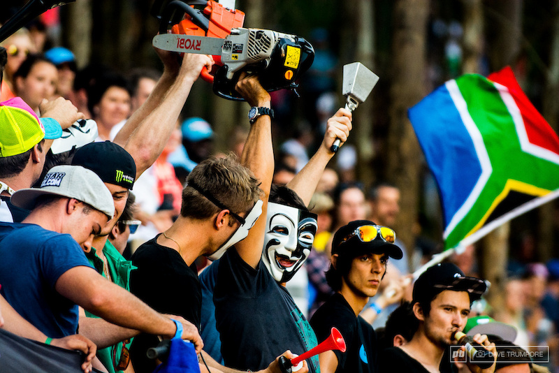 Huge crowds vuvuzelas chainsaws cowbells beers face masks beers and the South African flag. All the ingredients needed to make for a good party.