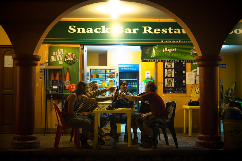 After the long day descending from the Continental divide the crew enjoyed some beers at a small shop in the valley floor. 26