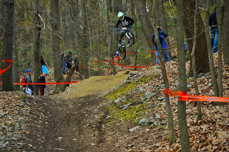 Style goes a long way with the crowds here. This 30 foot gap came after a series of step-downs and those carrying speed after them were able to make use of this jump and gain precious time. This rider had lots of speed. photo by Brice Shirbach