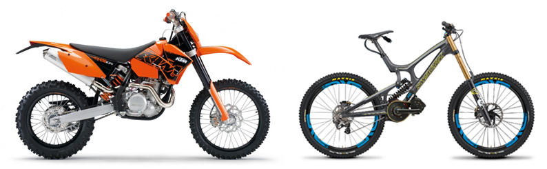 Motor bike and mountain bike