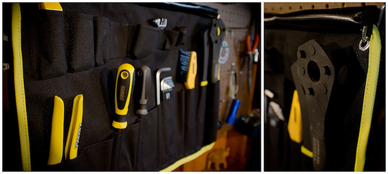 19 essential tools included with 9 empty spots for your other favorite tools Metal grommets allow for hanging in the workshop or if you want to zip tie them to a pop-up tent at the race.