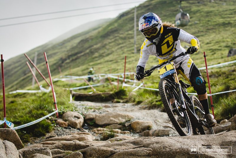 Rachel Atherton was fast through the top split but an untimely puncture left her far off the pace by run s end.