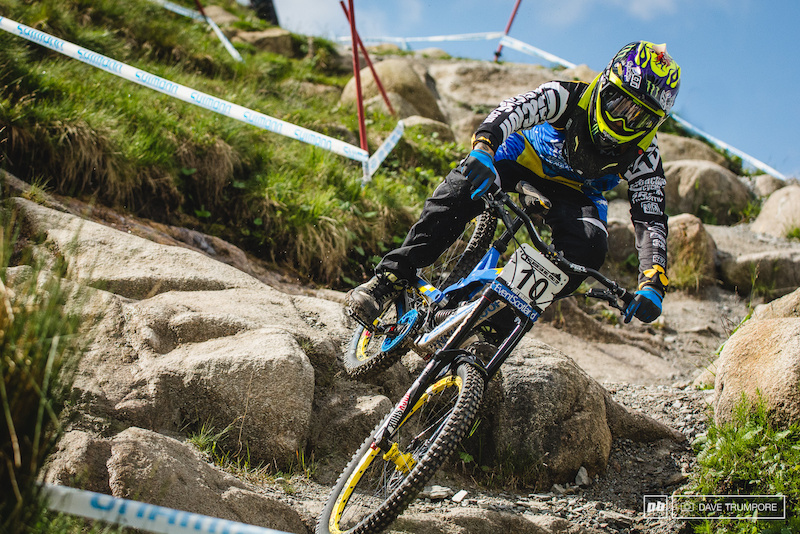 Sam Hill was absolutely pinned through the rocks up top. It s been a while since he has so confidently attacked such gnarly tracks and it s good to see him so close to that top step of the podium.