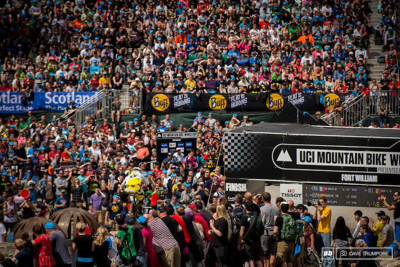 The riders on the hotseat and a packed finish arena watch as Martin Maes storms to victory in his first ever World Cup race.