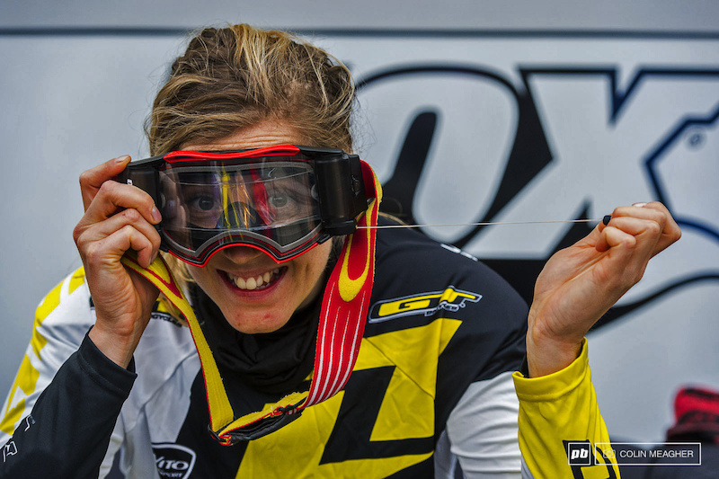 Pre-race jitters Not Rachel Atherton--she was goofing around in the pits playing with her new Oakley goggles all loaded up with a roll off in case it gets wet out there today.