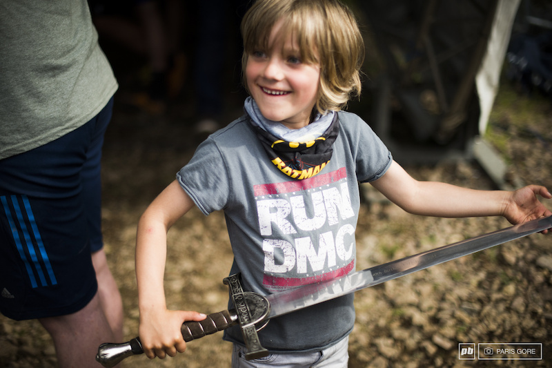 Jack Peat probably is too young to play with knives but can sure handle a sword like a good knight.