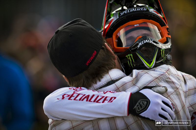 When is it cool for guys to hug in action sports We just checked bro-code guidelines and it is fully legit when you win your first World Cup at the most notorious DH track on the circuit. EC and Troy bear-hug it mid arena.