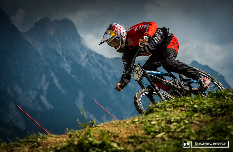 Loic Bruni took his first podium here last year. He qualified first today. Can Loic take his first World Cup win here tomorrow He was .415 seconds up on Aaron Gwin. If he does it could be a real close one.