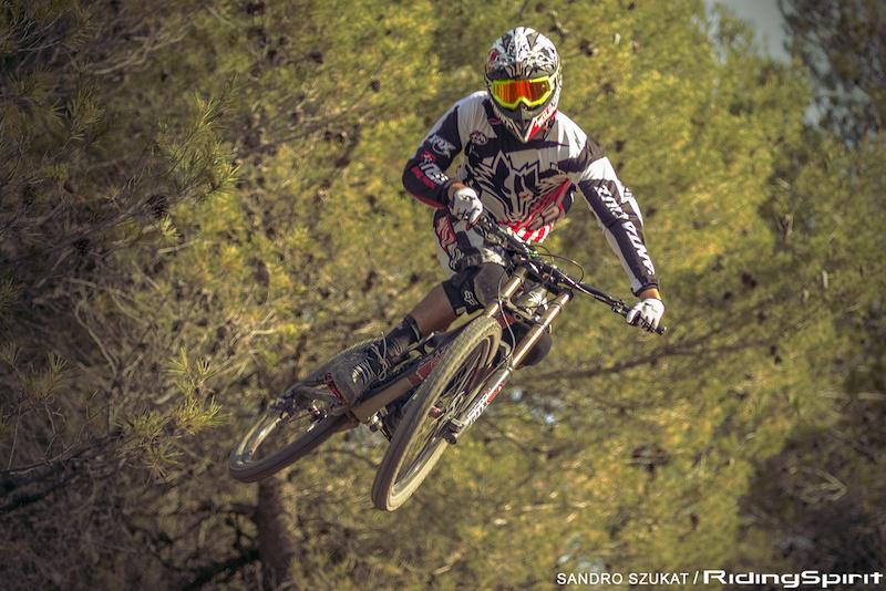 Alex Orban riding the SX line at La Fenasosa Bike Park.