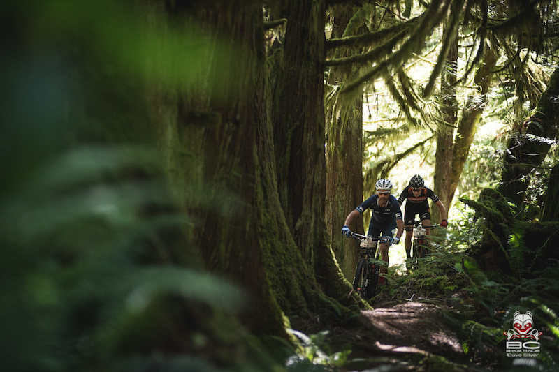 Jason Sager Backcountry Bikes and Spencer Paxson Kona took an early lead in the stage.