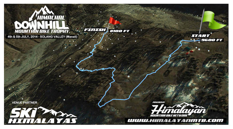 Aerial view map of 1st Himachal Downhill Mountain Bike Trophy 2014 - www.himalayanmtb.com
