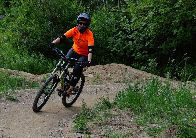 Nicole Miller rides solo in the Steamboat Bike Park after three lessons.