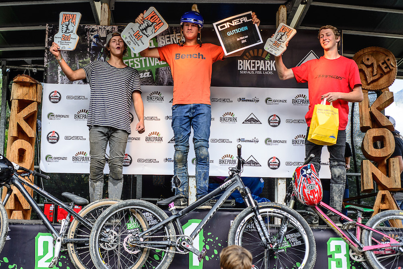 Prize giving ceremony for the O`Neas Rookies Slopestyle  during the Kona MTB Festival Serfaus-Fiss-Ladis.ROOKIES in Tyrol, Austria, on August 9, 2014.Free image for editorial usage only: Photo by Felix Schüller, 2014