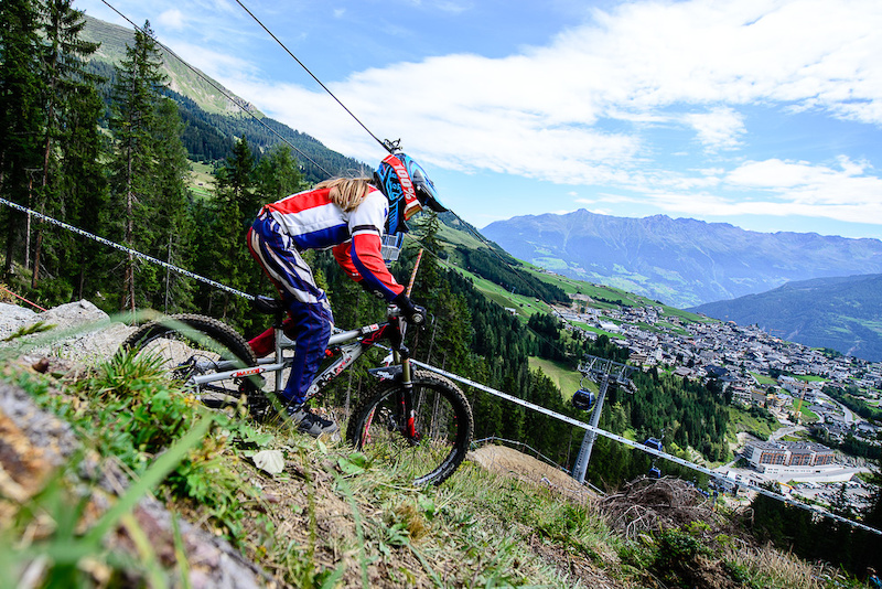 Van der Velde Siel of Belgium races down the downhill track of the Bikepark Serfaus-Fiss-Ladis during the Kona MTB Festival Serfaus-Fiss-Ladis.ROOKIES in Tyrol Austria on August 8 2014. Free image for editorial usage only Photo by Felix Sch ller.