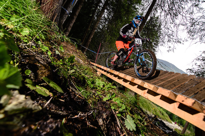 SCHWANIGER Jana Lisa of Austria races down the downhill track of the Bikepark Serfaus-Fiss-Ladis during the Kona MTB Festival Serfaus-Fiss-Ladis.ROOKIES in Tyrol Austria on August 9 2014. Free image for editorial usage only Photo by Felix Sch ller.