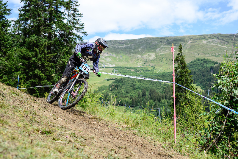 Anna Newkirk of USA races down the downhill track of the Bikepark Serfaus-Fiss-Ladis during the Kona MTB Festival Serfaus-Fiss-Ladis.ROOKIES in Tyrol Austria on August 10 2014.Free image for editorial usage only Photo by Felix Sch ller.