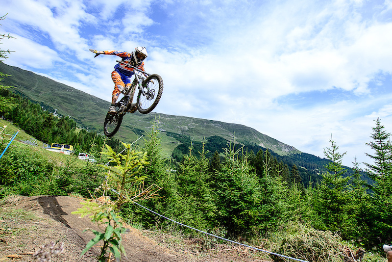 STOLL Jakob of Germany races down the downhill track of the Bikepark Serfaus-Fiss-Ladis during the Kona MTB Festival Serfaus-Fiss-Ladis.ROOKIES in Tyrol Austria on August 10 2014.Free image for editorial usage only Photo by Felix Sch ller.
