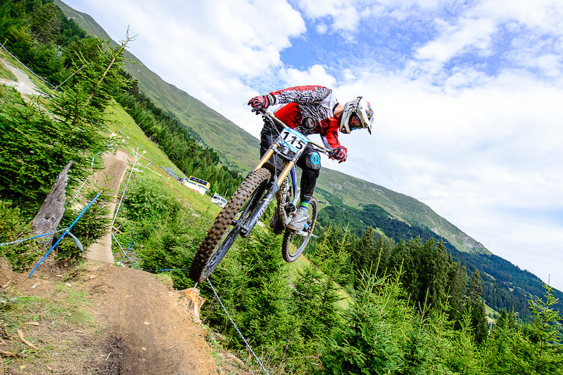 ZBIKOKISKI Jakub of Poland races down the downhill track of the Bikepark Serfaus-Fiss-Ladis during the Kona MTB Festival Serfaus-Fiss-Ladis.ROOKIES in Tyrol Austria on August 10 2014. Free image for editorial usage only Photo by Felix Sch ller.