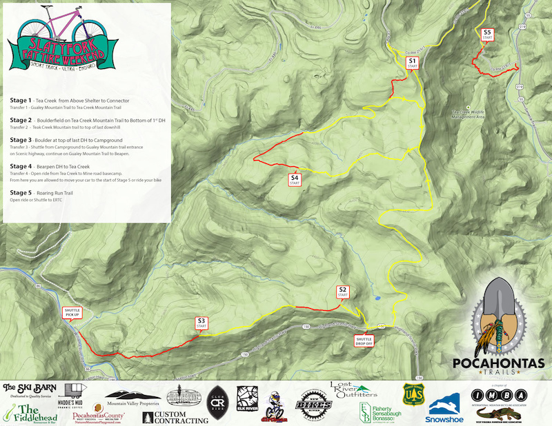 The Slatyfork Fat Tire Weekend presented by Pocahontas Trails will include a 5 stage Enduro race on Sunday August 24th 2014.