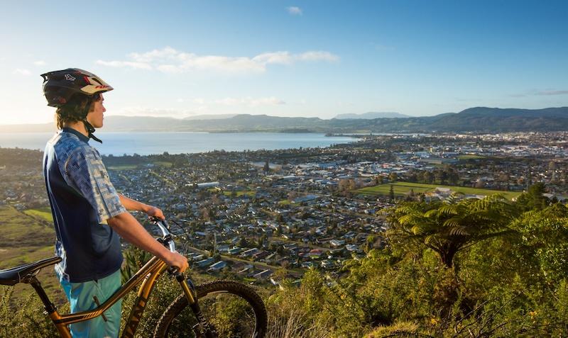 Views across Lake Rotorua from the top of the Skyline Bike Park trails.