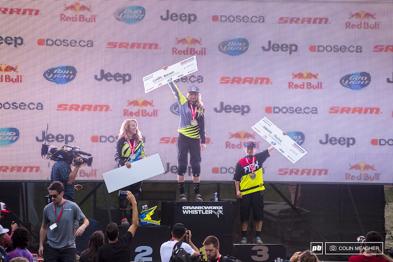 The Women s pro field had their start times moved up by ten minutes meaning the entire pro women s class went by before fellow PB shooter Margus Riga and I were set up. Apologies to women s racing fans for nothing but a podium shot Casey Brown 2 Claire Buchar 1 and Swiss Miss Lorraine Truong 3 .