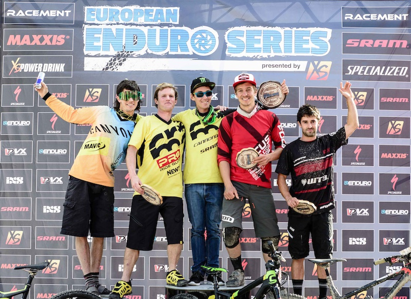 Prize giving ceremony of the European Enduro Series Round 4 in Nauders Austria on August 24 2014. Free image for editorial usage only Photo by Felix Sch ller.