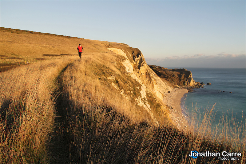Self portrait of trail running along the South West Coast Path.