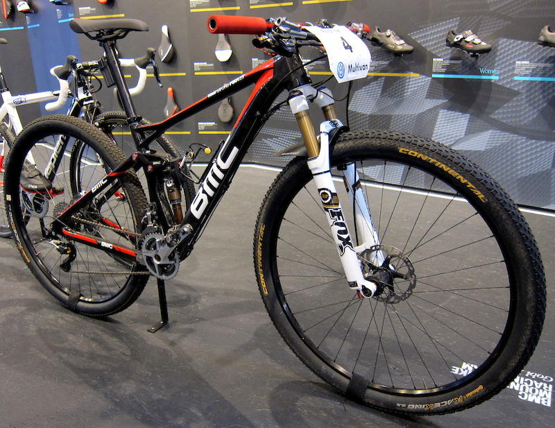 Ralph Naf s BMC Four Stroke FS01-29 on display in the Fizik booth.