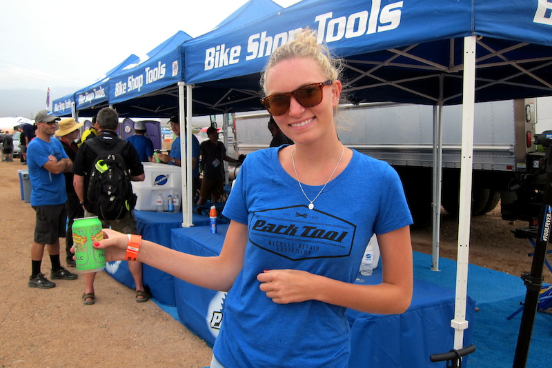 Say hey to Elli. Park Tool was set up at the Outdoor Demo entrance offering visitors free beer