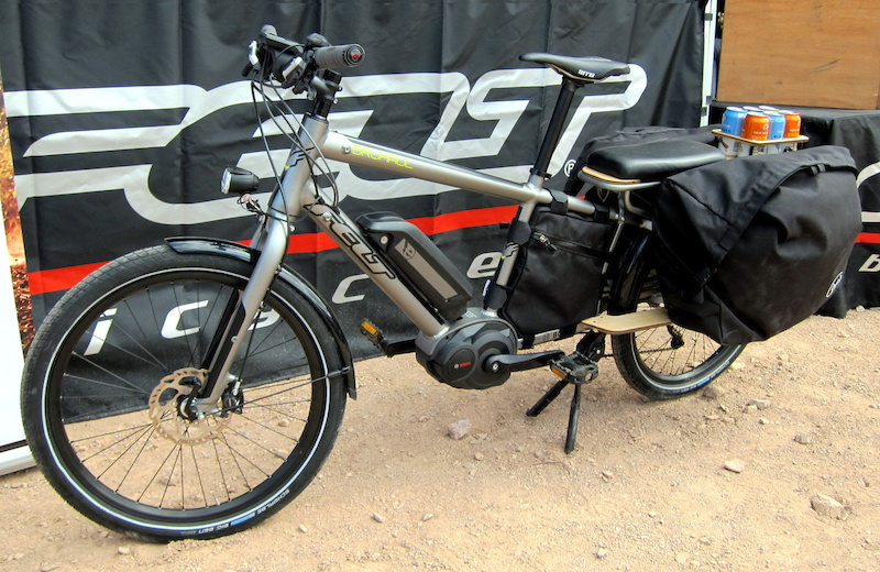Felt Bruhaul burdon bike was the best use of e-power at the bike show. Felt used smaller 24-inch wheels to double up the torque available from the Bosch motor drive so that urban delivery riders could take their significant others to the movies after work. Well done.