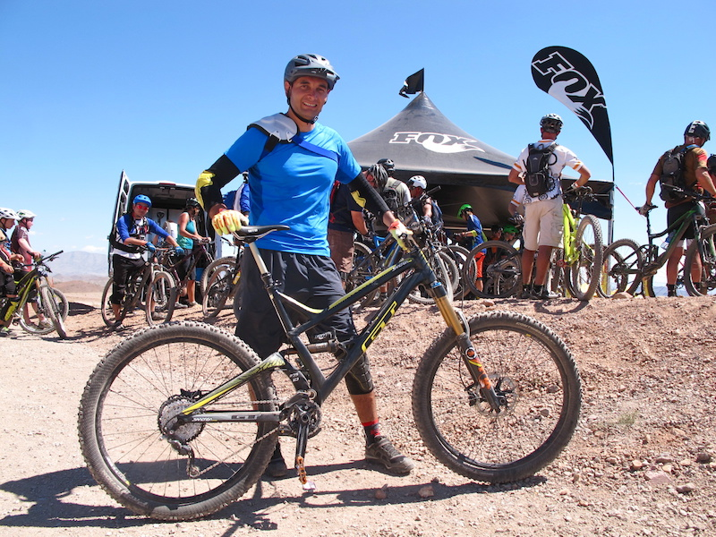 It was a quick journey from Puebla Mexico for Bike Logistics employee Alfonso Velez. He was pumped to give the GT Sanction a run for it s money on the rugged DH tracks here at Bootleg Canyon.