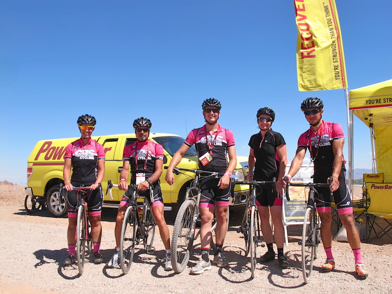 Meet Charity Fred Andrew Amy and Paul from CBS Cycling in Newhall California. They were mixing up their demo bike options for 2 days of good times. I ran into them at the Powerbar Recovery station as riders had to stay hydrated or pay the consequences of heat stoke. This crew was pumped to be here.