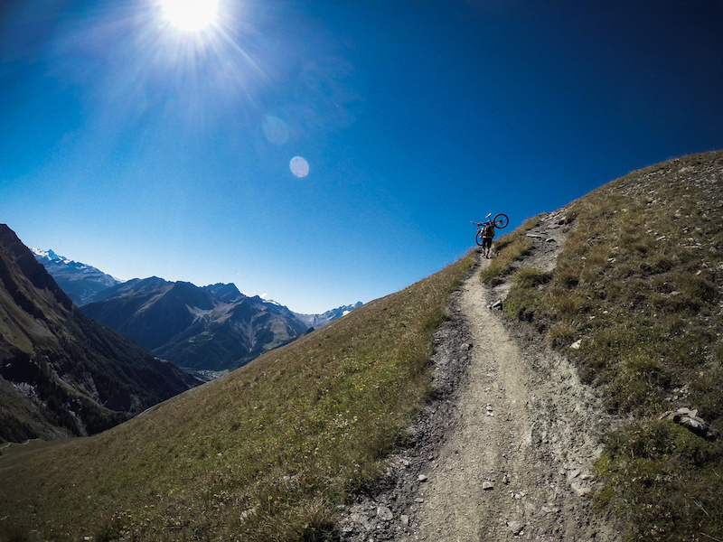 GoPro snap of final climb to 1300m descnt