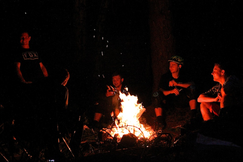 Late night campfire after a rad day on the trails.