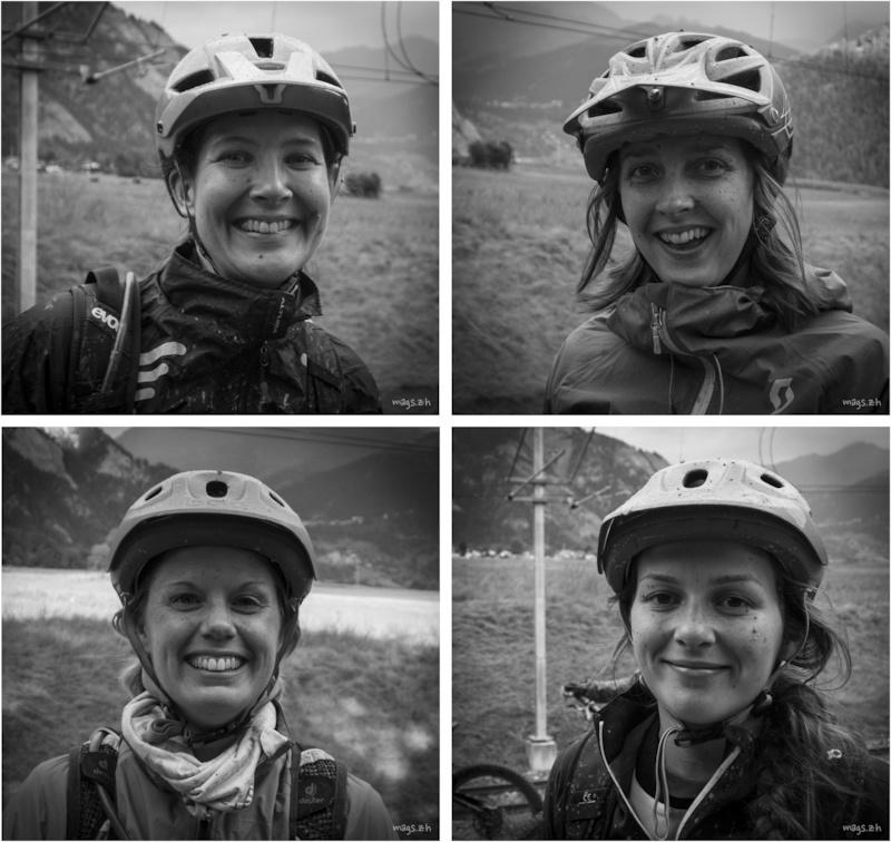 The muddy faces of happy mountain bikers