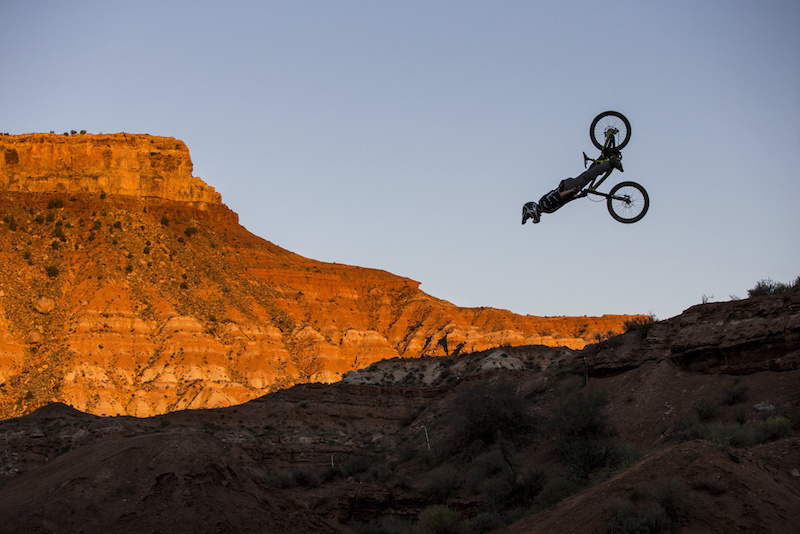 Nicholi Rogatkin front flips during Red Bull Rampage in Virgin Utah USA on 24 September 2014. Christian Pondella Red Bull Content Pool P-20140925-00009 Usage for editorial use only Please go to www.redbullcontentpool.com for further information.