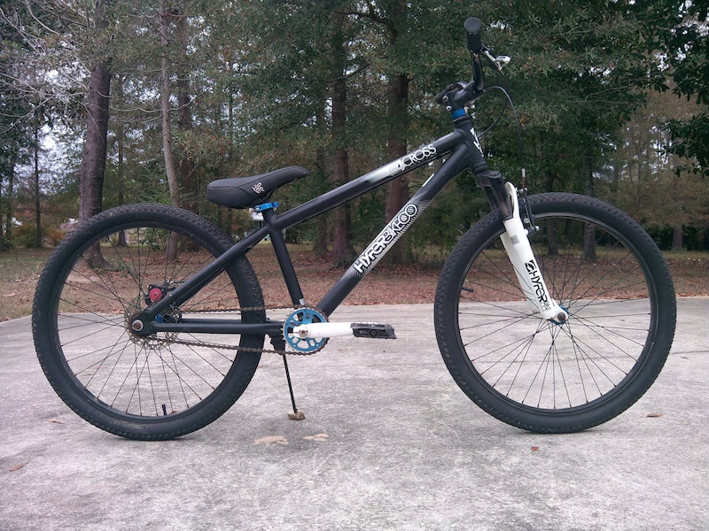 Hyper 4-Cross. My first trick bike . Just pulled it out of the shed and cleaned it up for the first time in over a year. Very cheap but surprisingly still rides like new. Can t seem to break this thing