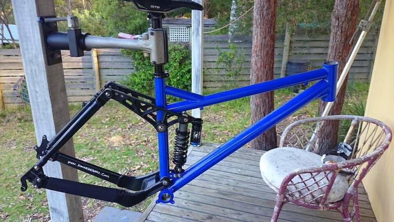 Custom Coiler frame powder coated. New front triangle steel 4130 CrMo . TT 23mm longer BB 15mm lower.