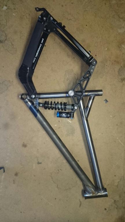 Custom Coiler frame test build. New front triangle steel 4130 CrMo . TT 23mm longer BB 15mm lower.