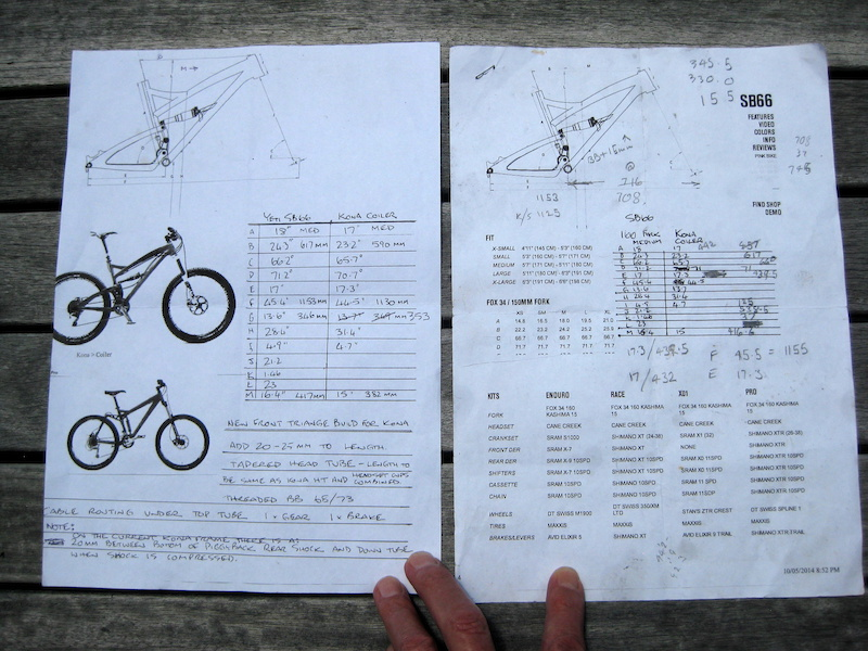 Plans for my custom Kona Coiler with new frame front triangle. I was looking to modify my Coiler to new school geometry longer and lower and after comparing lots of brands with 160mm travel I found the Yeti SB66 one of the best 26 bikes ever made had similar geometry to my bike but also had the two features I needed to copy a longer front end and lower BB. The longer front would give me the room to use an inline seat post instead of a setback and get me more in the middle of the bike while seated. In the standing descending position the low BB and longer wheelbase would give me more stability and confidence. I put my ideas to my steel frame maker friend at Manufactured by Grelck. He took on the project and produced the new front end in 4130 CrMo. Final figures TT 23mm longer BB 15mm lower than the standard Kona Coiler Med 2007. We lowered the BB more than the Yeti. It s in line with the new crop of bikes with a BB at around 340mm such as the Santa Cruz Nomad GT Sanction Transition Patrol Orbea Rallon low setting etc.. I love the result - feels perfect.