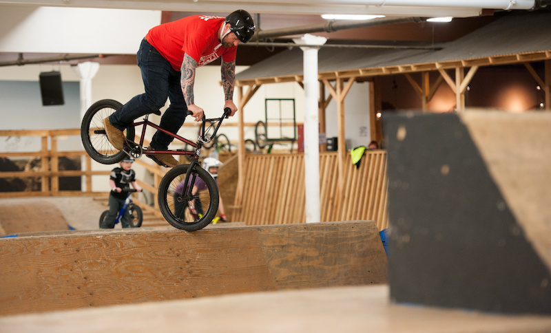 Joe getting down at the yard on his Hellion BMX frame.