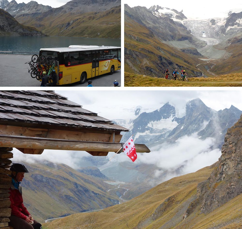 We take the PostAuto bus to Moiry Lake from Vissoie. Lots of interesting weather awaited us on our climb