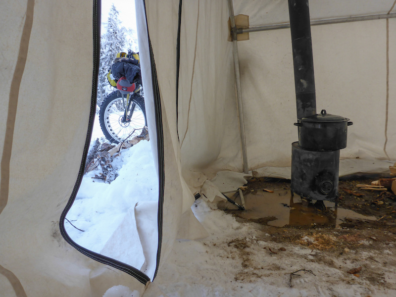 A remote tent c& set up at Indian River. A wood stove with hot water & The Yukon Winter Epic at -45C is Not for the Weak - Pinkbike