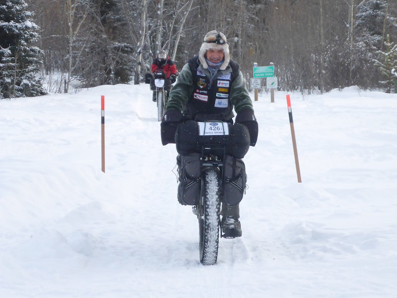 Enrico Ghidoni the Italian hardman that would go on to claim a third victory in the Yukon Arctic Ultra begins on the Dawson Overland trail in Whitehorse.