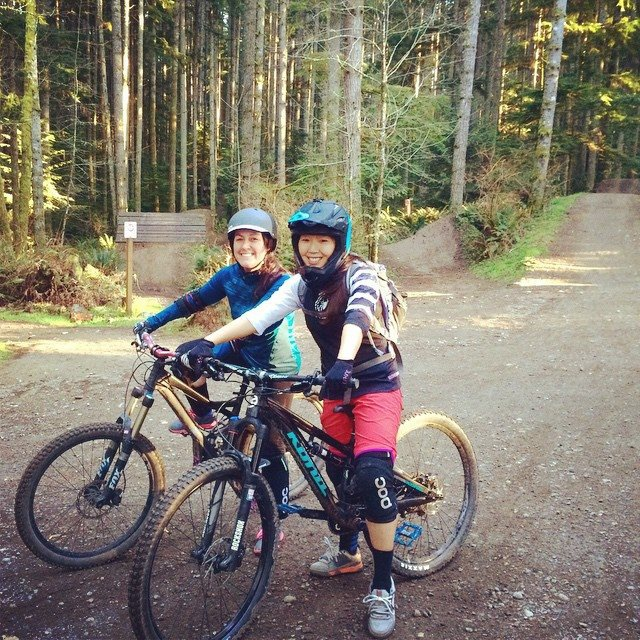 Showing my friend what biking is all about!